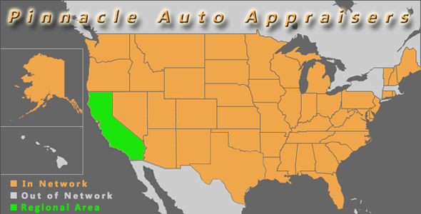map california pinnacle auto appraisal appraiser diminished value inspection